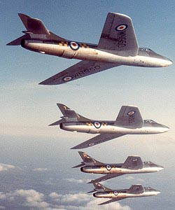 four hawker hunters flying