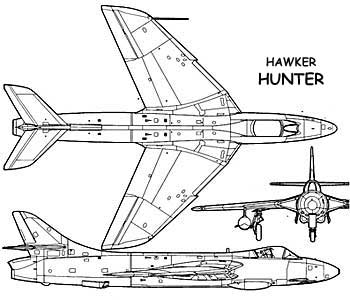Hawker Hunter 3-view