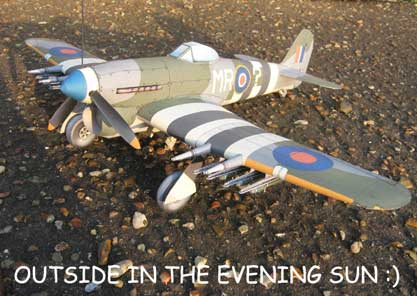 Hawker Typhoon cardmodel in the evening sun