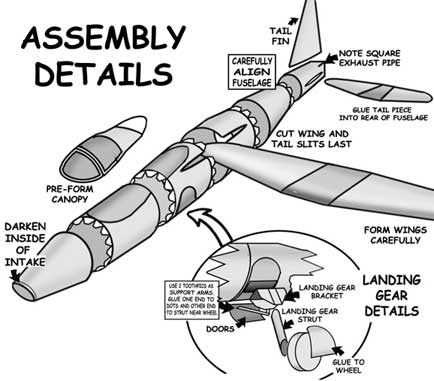 The He-178 cardstock model Assembly Details