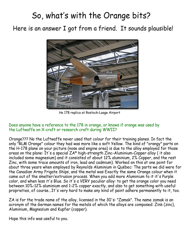 Heinkel He-178 article regarding the orange color