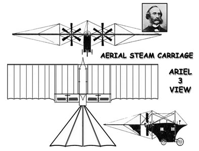 "3 View of the Henson Aerial Steam Carriage ""Ariel"""