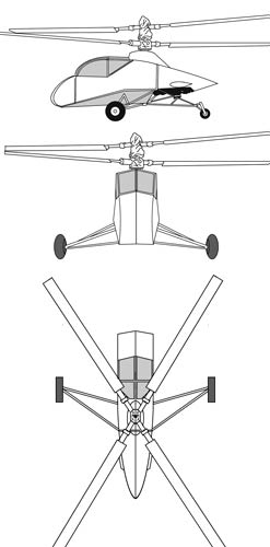 Hiller XH-44 threeview