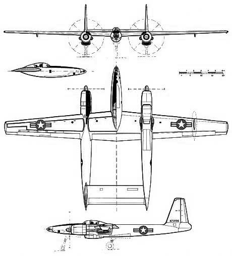 3 view of the Hughes XF-11