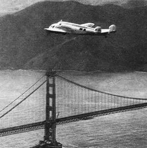 Amelia Earhart Flying over the Golden Gate Bridge
