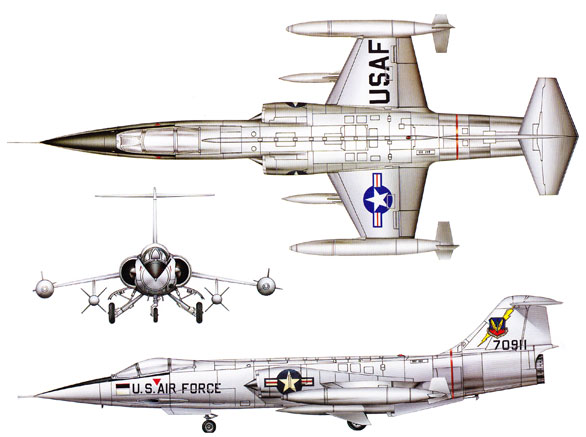 Lockheed F-104 Starfighter Color 3 View