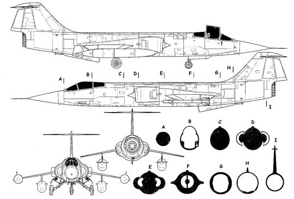 Lockheed F-104 Starfighter 3 View with Sectional