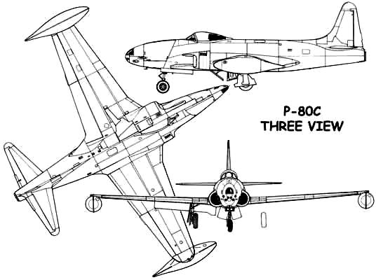 3 View of the Lockheed P-80C