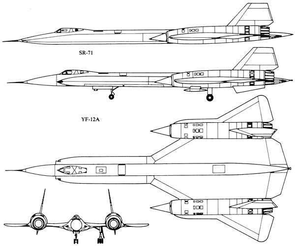 3 View of Lockheed SR-71, YF12A