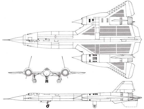 3 view of Lockheed SR-71