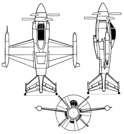 3 View of the Lockheed XFV Salmon