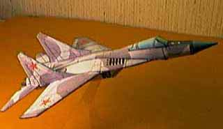 Mig 29 displayed on plastic stand