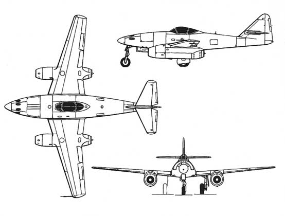 three view of the Me-262