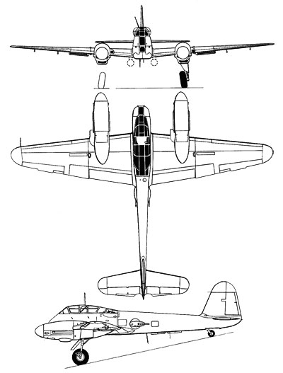 3 View of the Messerschmitt Me210/Me410