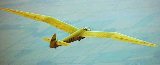 Flying minimoa sailplane glider