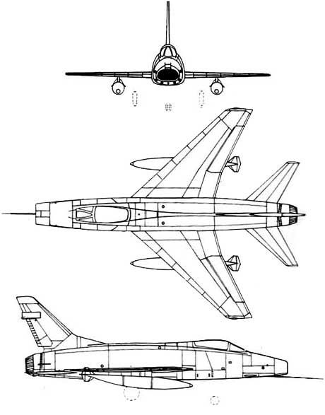 3 View of the North American F-100 Super Sabre