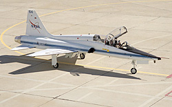 A NASA T-38 is preparing for flight.