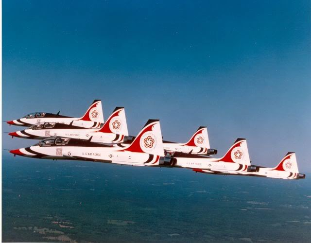 Thunderbirds flying the Bicentennial Colors