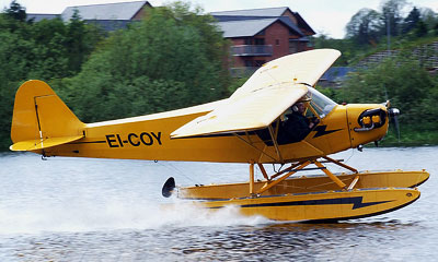 Piper Cub on floats ready for take off