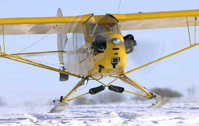 Piper Cub on Skiis