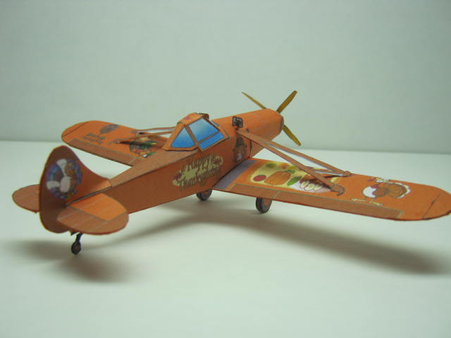 Thanksgiving Day Piper Pa-25 Pawnee Paper Plane Cardmodel