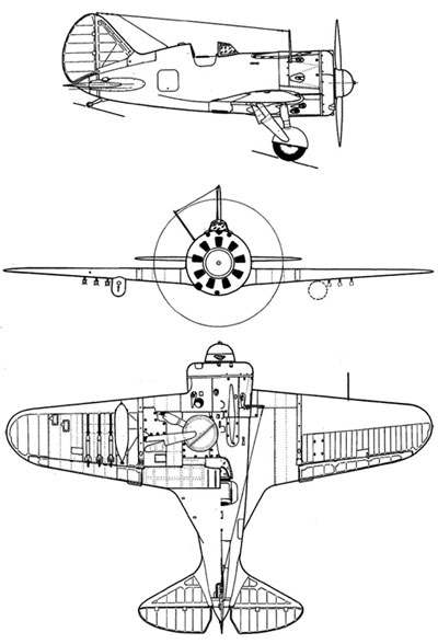 3 View of Polikarpov I-16
