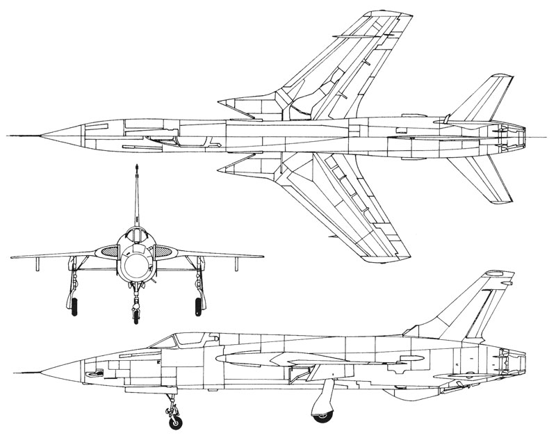 Republic F-105 3 View