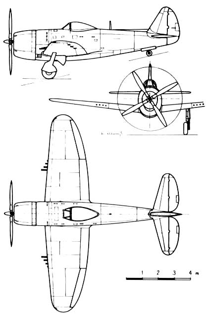 P-47 three view