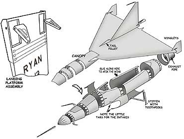 Ryan X-13 Vertijet Cardmodel assembly drawing vtol vertical takeoff vehicle