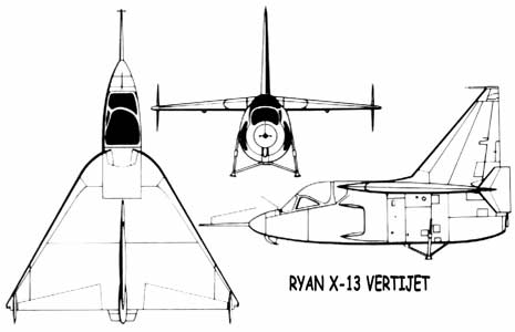 Ryan X-13 Vertijet 3 view three view