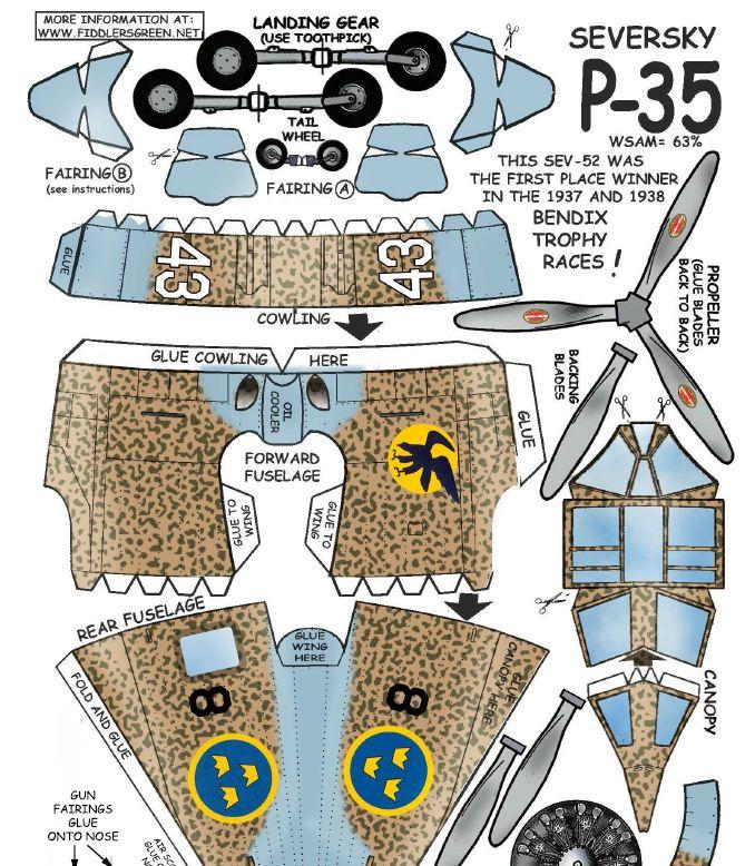 Swedish P-35 Seversky paper model