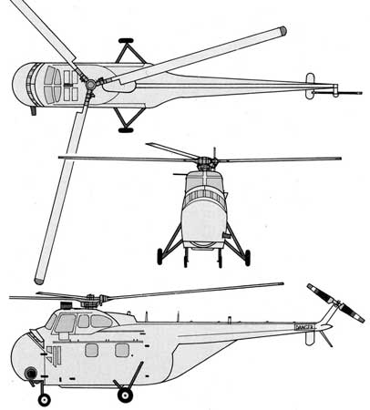 SIkorsky S-55 threeview