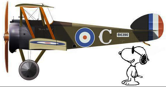 SOpwith Camel and Snoopy watching