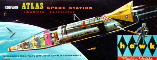 label of the convair atlas space station plastic model kit