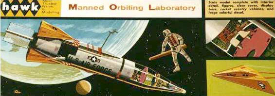 label of 1966 convair atlas space station plastic model kit with orbital life boat