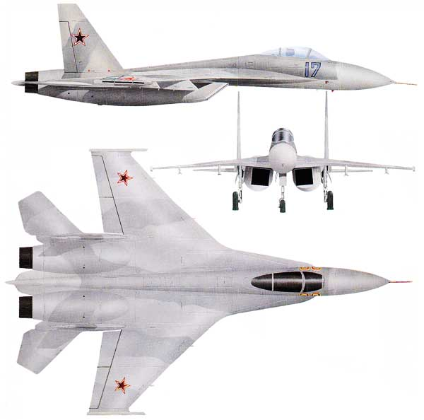 3 view of the Sukhoi Su-27