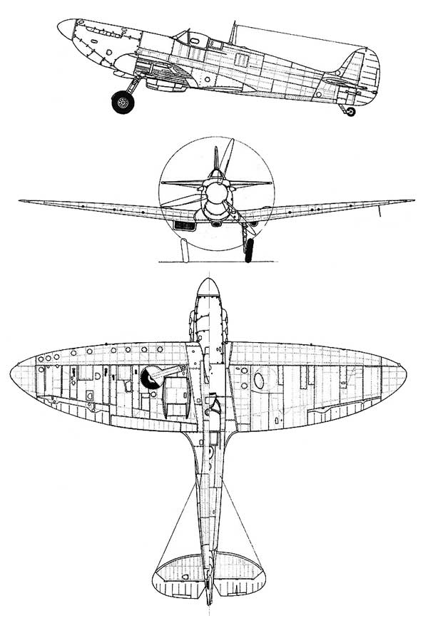 Supermarine Spitfire Plans Drawings http://www.fiddlersgreen.net/models/aircraft/Supermarine-Spitfire.html
