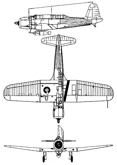3 view of the Vought Vindicator