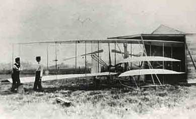 Wright Brothers Flyer getting ready to fly