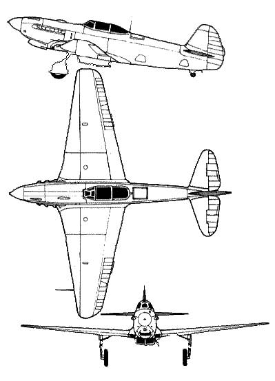 Three views of the Yak 3 Russian WWII fighter