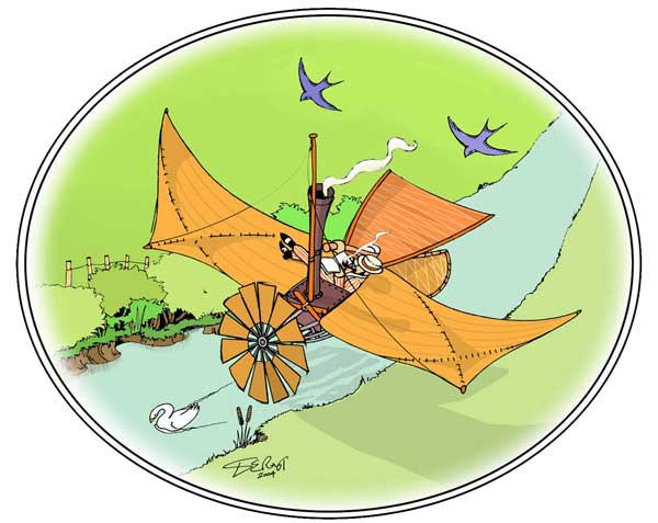 art work for the Felix du Temple Early Flying Machine paper model