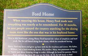 The sign that greets you at Henry Ford's Birthplace