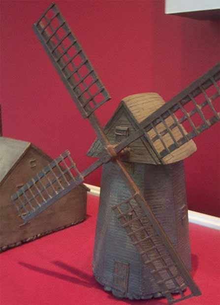 brown model of Nantucket Island's one & only windmill old mill fiddlersgreen fiddlersgreen.net
