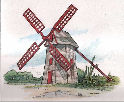Nantucket Windmill-watercolor