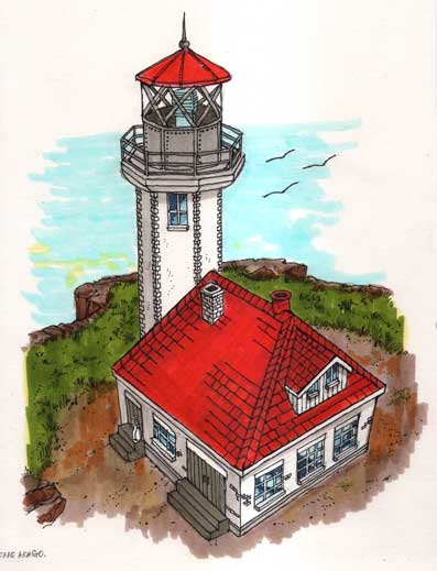 Cape Arago Lighthouse Drawing