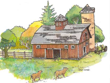 Farm Barn paper model illustration