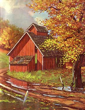 A New England Barn in the autumn