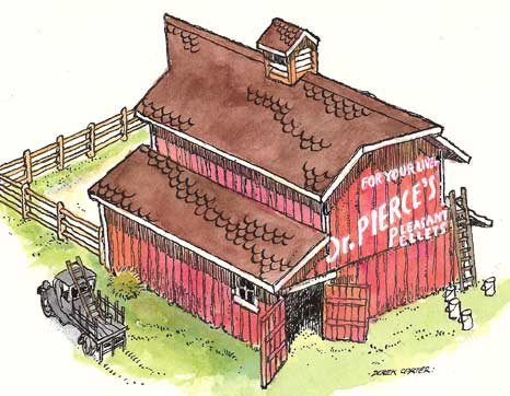 Illustration for paper model of New England livestock barn