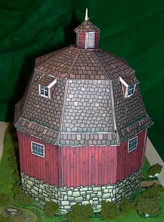 d Barn downloadable cardmodel looking from the rear