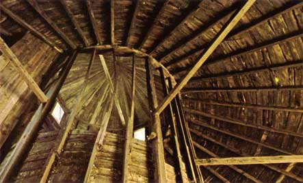 Looking up in a Poly-Sided Barn